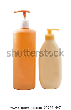 Plastic Shampoo bottles on white background  - stock photo