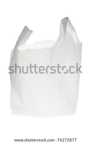 Plastic Shopping Bag on White Background - stock photo