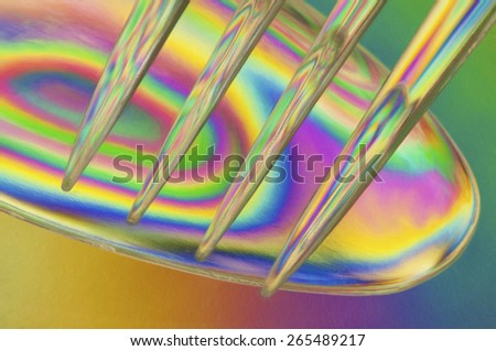 Plastic Spoon and Fork - Cross-Polarized - stock photo