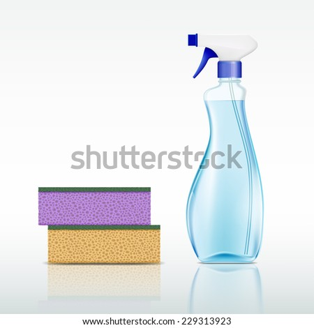 plastic spray bottle with cleaning liquid and sponge - stock photo