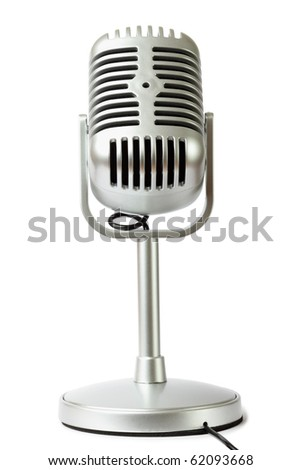 plastic studio microphone metallic color on pedestal, front view, isolated on white - stock photo