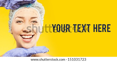 plastic surgery. surgery on face. your text here - stock photo