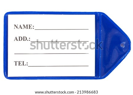 Plastic tag for luggage isolated on a white background - stock photo
