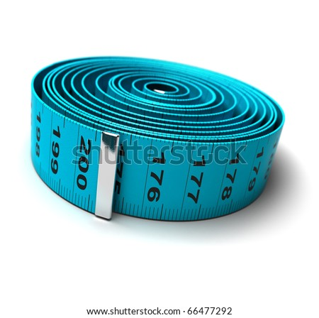 plastic tape measure in a roll isolated over a white background - stock photo