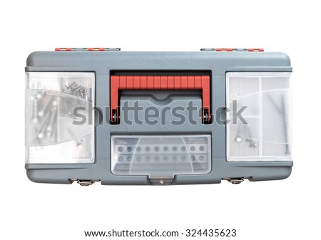 plastic tool box. Isolated on white. top view - stock photo