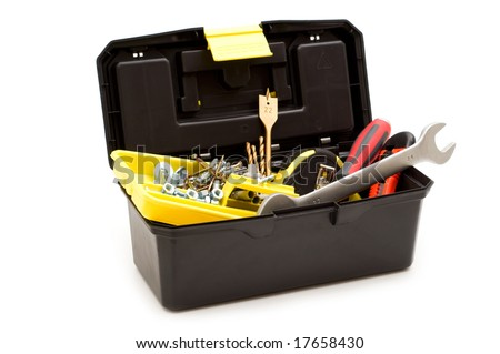 plastic toolbox and tools on white background - stock photo