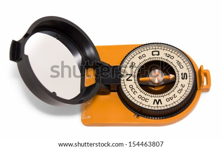 Plastic tourist compass with mirror isolated on white background top view - stock photo