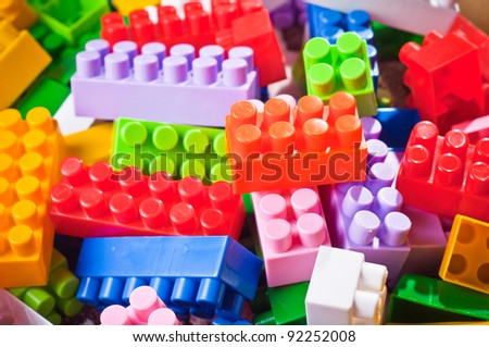 plastic toy bricks - stock photo