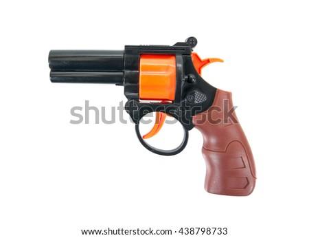Plastic toy gun isolated on a white background.Toy gun - stock photo