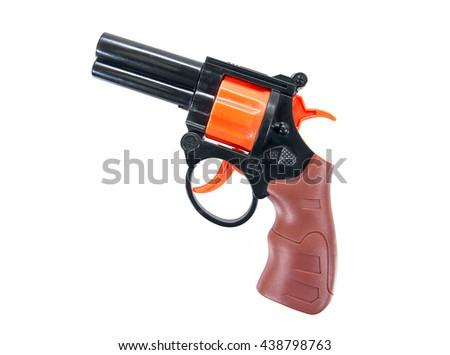 Plastic toy hand gun isolated on white background.Toy gun.Toy hand gun - stock photo