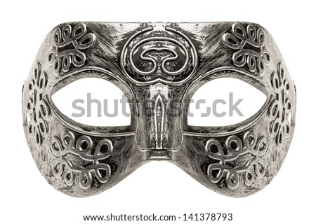 Plastic toy play mask isolated on white background. - stock photo