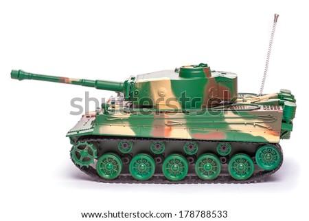 Plastic toy tank - stock photo
