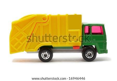 plastic toy van, isolated on white background - stock photo