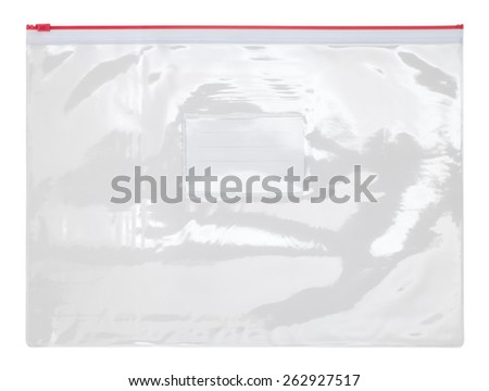 Plastic transparent zipper bag isolated on white background - stock photo