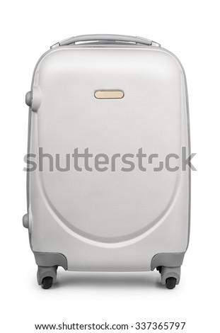 Plastic travel suitcase isolated on white - stock photo