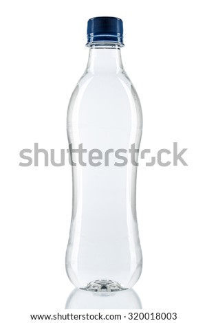Plastic water bottle isolated on white background - stock photo