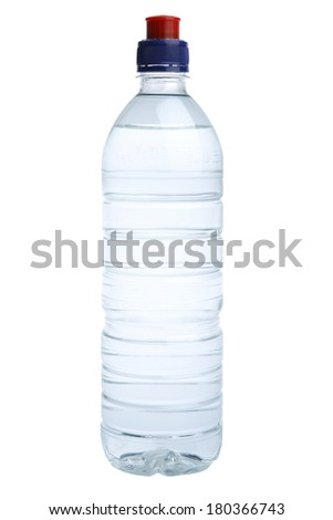 Plastic water bottle with red and blue cap on white background - stock photo