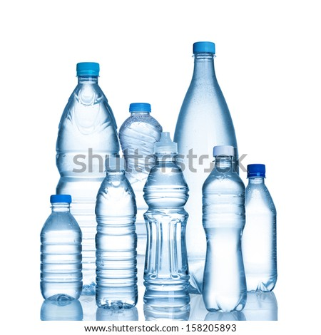 Plastic water bottles isolated on white background  - stock photo
