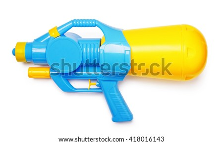 Plastic water gun isolated on white background - stock photo