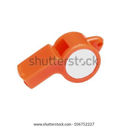 plastic whistle isolated on white background - stock photo