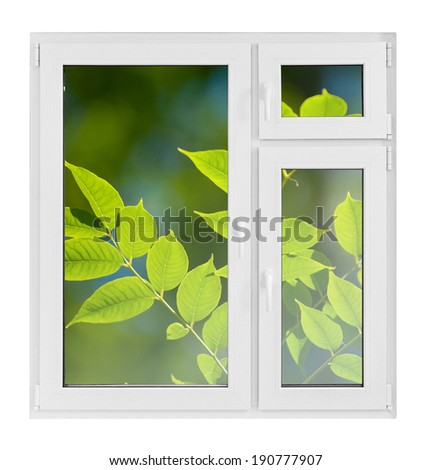 Plastic window with green leaves on white background - stock photo