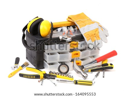 Plastic workbox with assorted tools. Isolated on white background. - stock photo