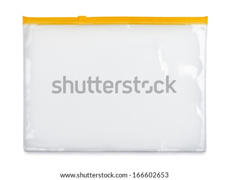 Plastic zipper bag isolated on white - stock photo
