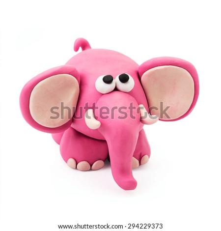 Plasticine cartoon pink fun elephant on a white background - stock photo