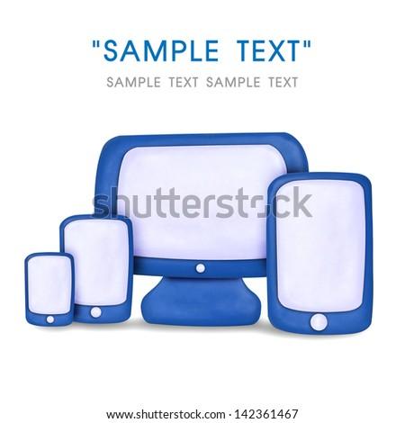 Plasticine cartoon responsive web design - stock photo