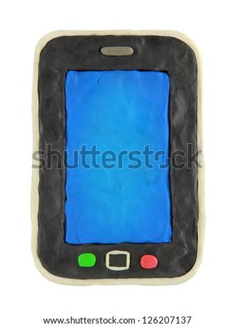 Plasticine cartoon smartphone on a white background - stock photo