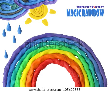 plasticine decoration rainbow whith clouds on the white background - stock photo