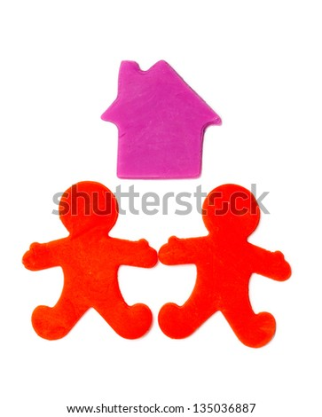 plasticine house and people isolated on white background - stock photo