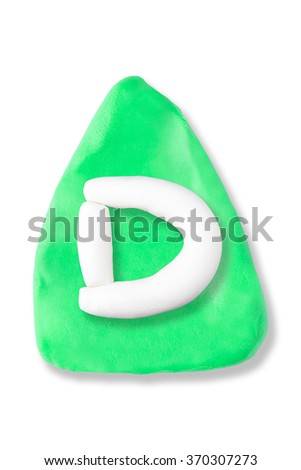 Plasticine letter D on plasticine triangle background on isolated on a white background - stock photo