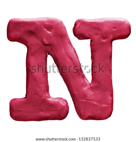 Plasticine letter N isolated on a white background - stock photo