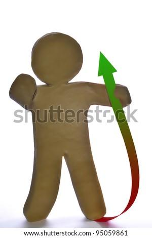 plasticine man on a white background - stock photo