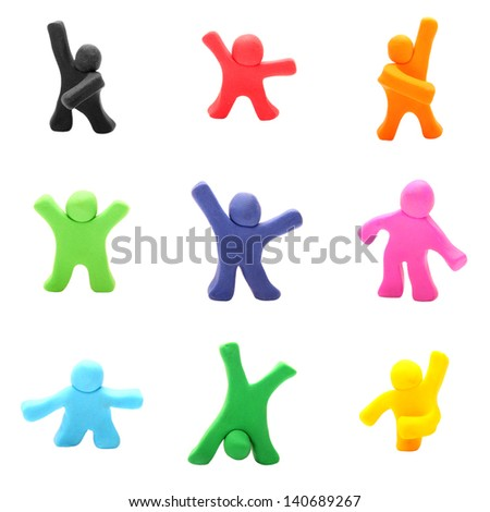 plasticine people set - stock photo