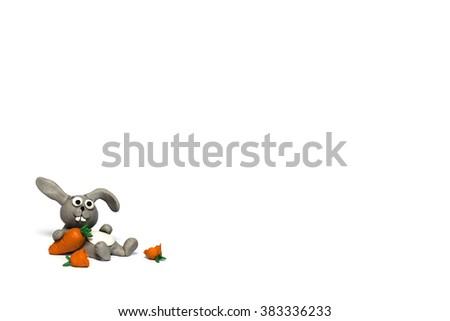 Plasticine rabbit - stock photo