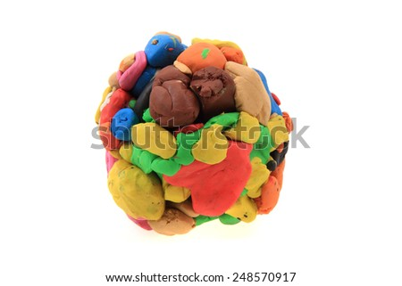 plasticine sphere isolated on the white background - stock photo