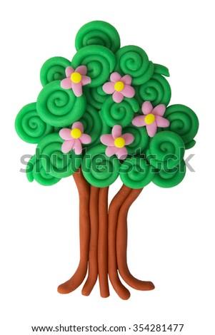 plasticine spring tree isolated on white background - stock photo