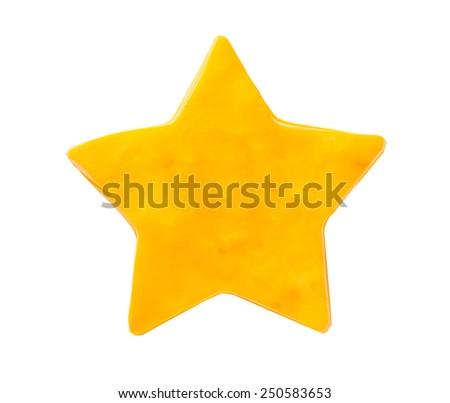 Plasticine star isolated on white background - stock photo