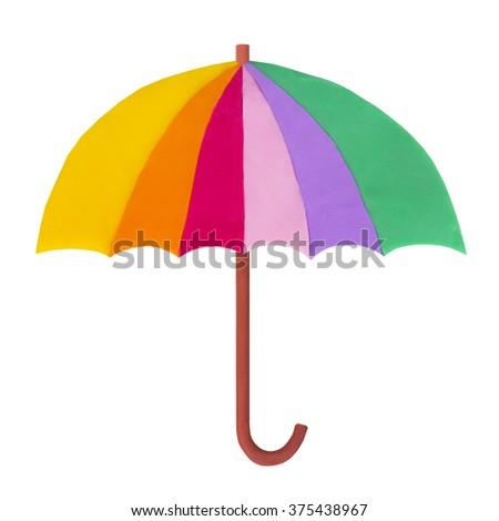 plasticine  umbrella  - stock photo