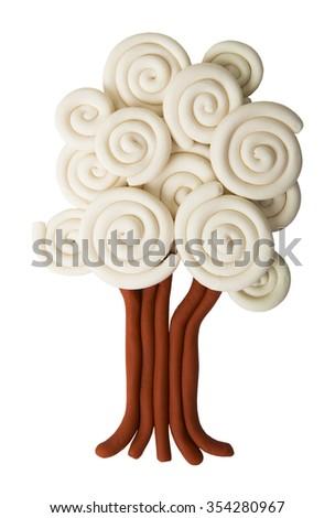 plasticine winter tree isolated on white background - stock photo