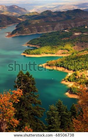 Plastiras lake in central Greece - stock photo