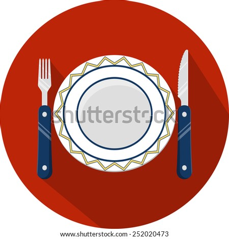 Plate and Cutlery  - stock photo