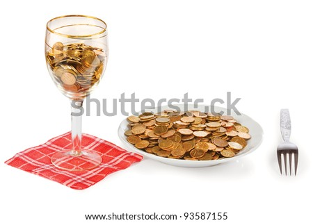 Plate and glass with the money on a white background - stock photo
