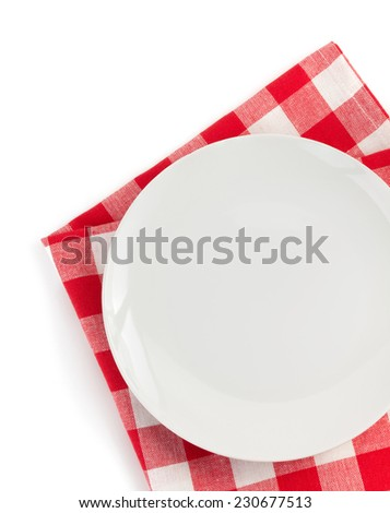 plate at napkin on white background - stock photo