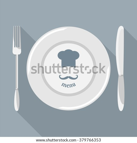Plate, knife and fork with long shadows. Dining etiquette. Foods Service icon. Menu card. Bitmap illustration. - stock photo