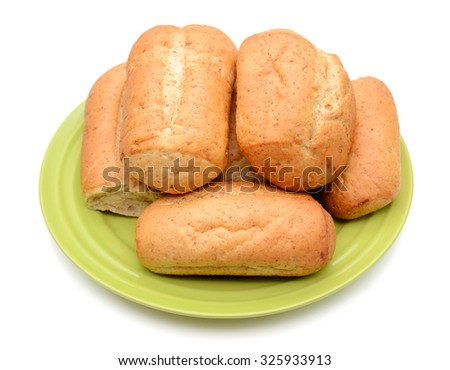 plate of bread rolls isolated on white  - stock photo