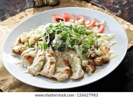 Plate of chicken salad. - stock photo