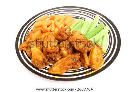 plate of chicken wings - stock photo